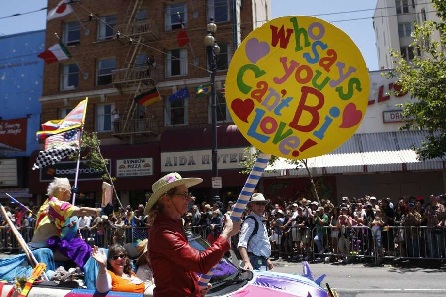 Members of the Bay Area Bisexual Network show their pride at the 41st San Francisco Pride Celebration and Parade in 2011.