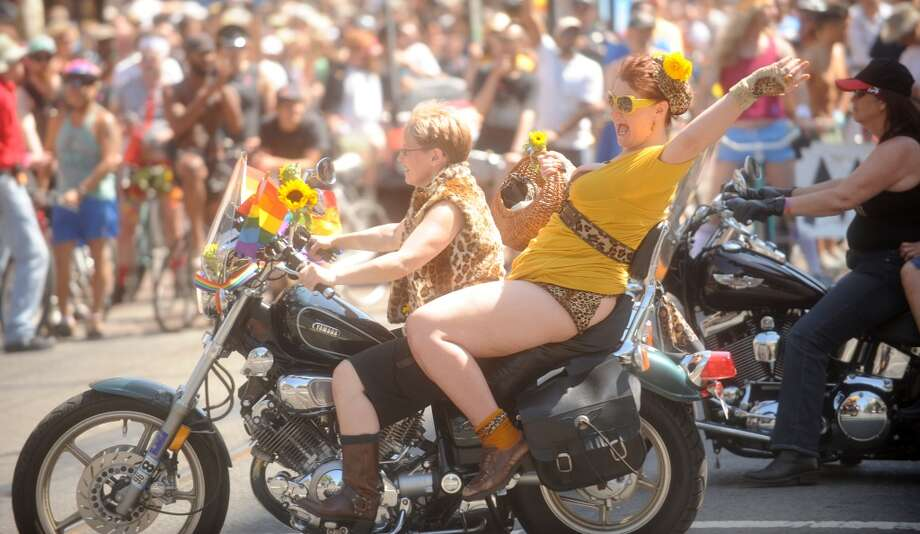 Members of the Dykes on Bikes contingent ride in the Pride Parade on Sunday, June 28, 2009, in San Francisco.