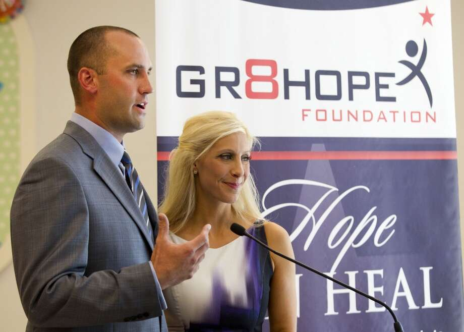 Houston Texans quarterback Matt Schaub and his wife, Laurie, announce a $250,000 donation to Texas Children's Hopsital West Campus during a news conference Thursday, June 27, 2013, in Houston. The donation was made through the Gr8Hope Foundation. ( Brett Coomer / Houston Chronicle )