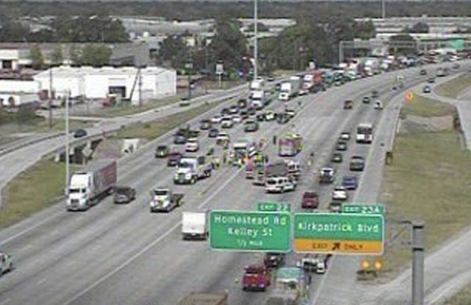 A wreck snarled traffic on the North Loop at Kirkpatrick Friday morning. (Houston Transtar)
