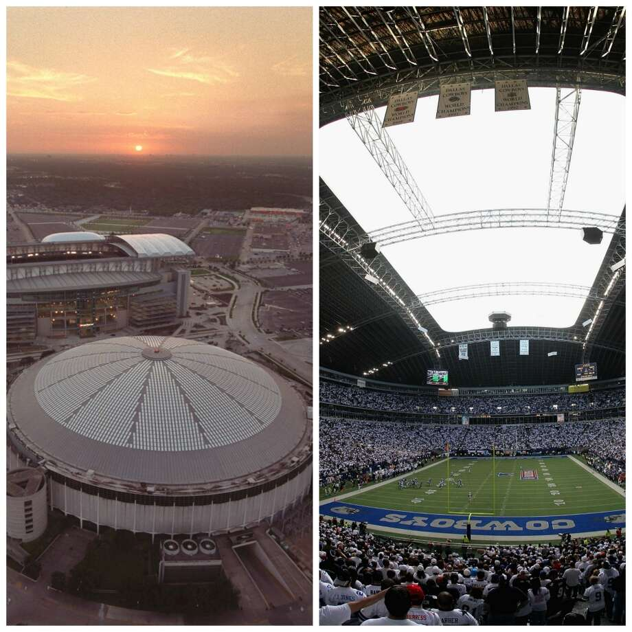 Astrodome vs. Texas StadiumHouston had the original Eighth Wonder of the World then the Cowboys had to come along and build a stadium with a hole in the roof. Couldn't they finish the job? Texas Stadium is now razed and Astrodome is still  standing, at least for now.