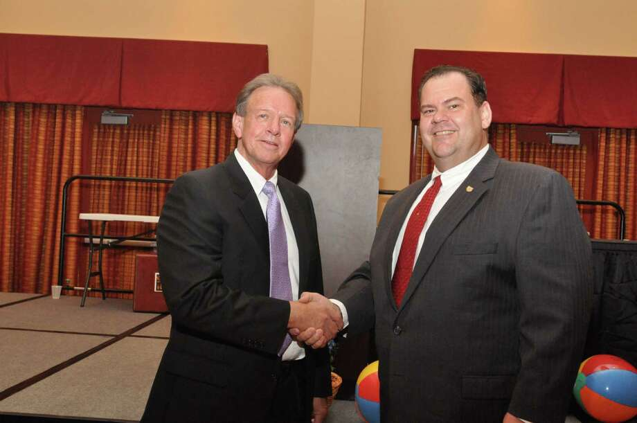 Bobby Biscamp with Jasper County Judge Mark Allen