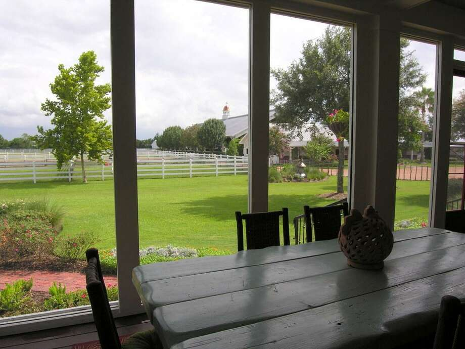 Through screen at other end of back porch. This shows back yard and to right back is partial view of main barn.