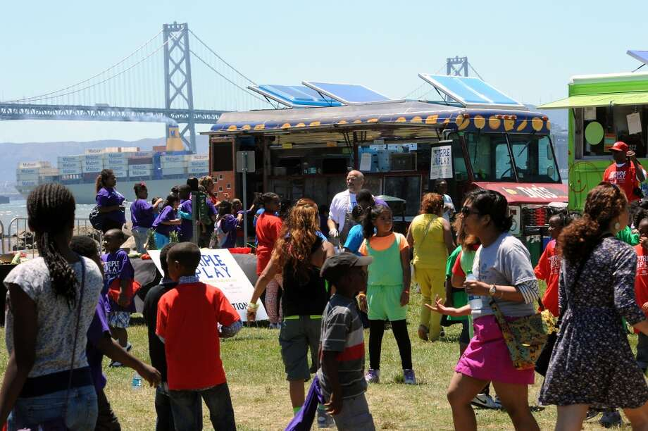 Some of San Francisco's most popular food trucks visited Boys & Girls Club Triple Play event on Treasure Island.