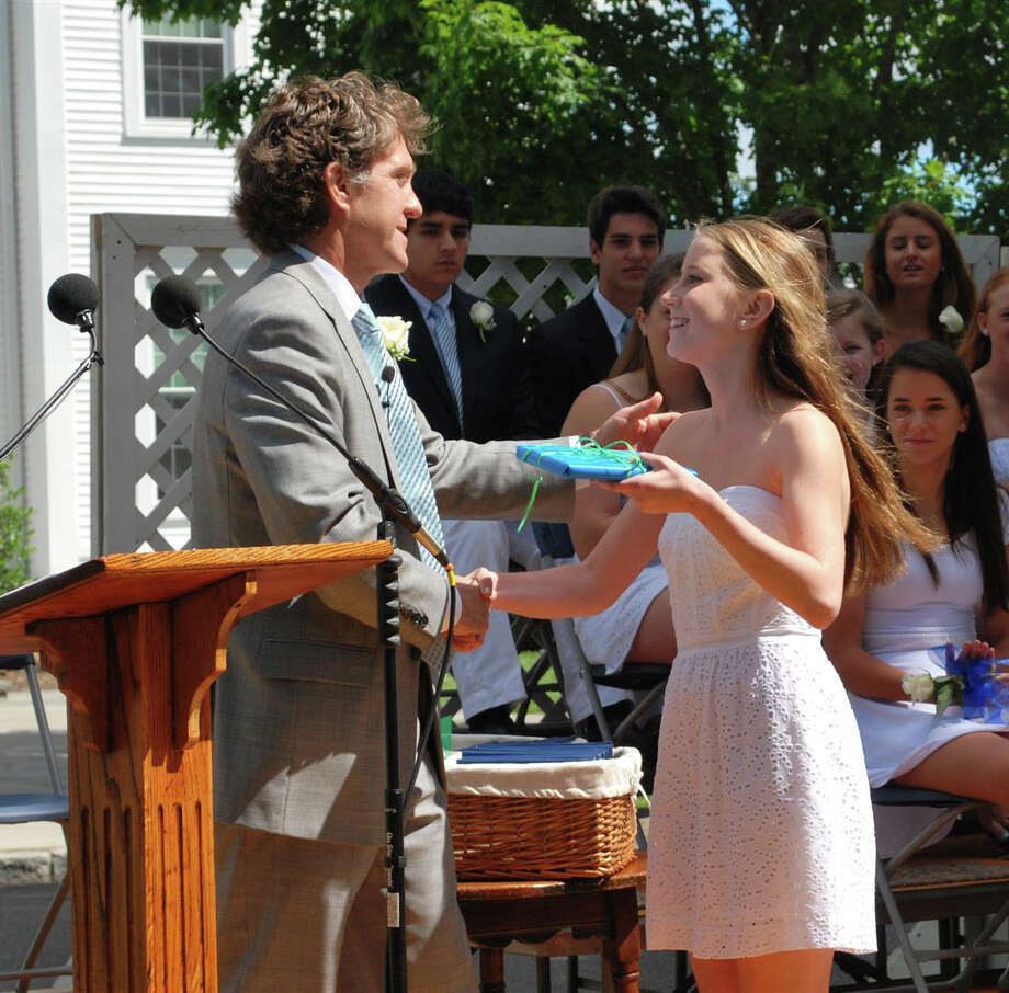 New Canaan Country School Head of School Tim Bazemore presents the Gamble Award to Virginia Mahoney at the school's closing exercises June 12. Photo: Contributed Photo