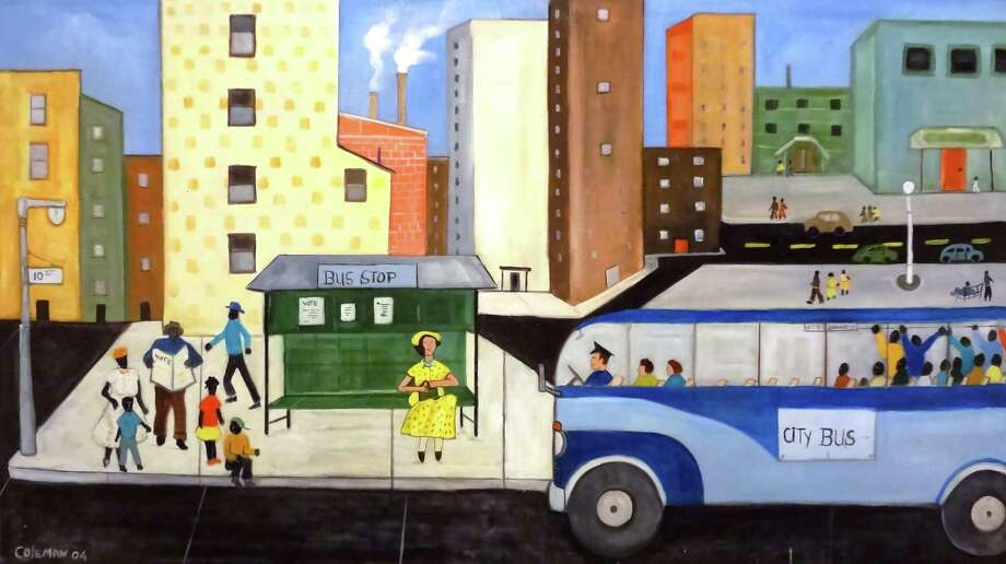 "In paintings such as ""Bus Stop,"" artist John Coleman offers a visual history lesson of the way things were before integration and civil rights. Photo: Steve Bennett / San Antonio Express-News"