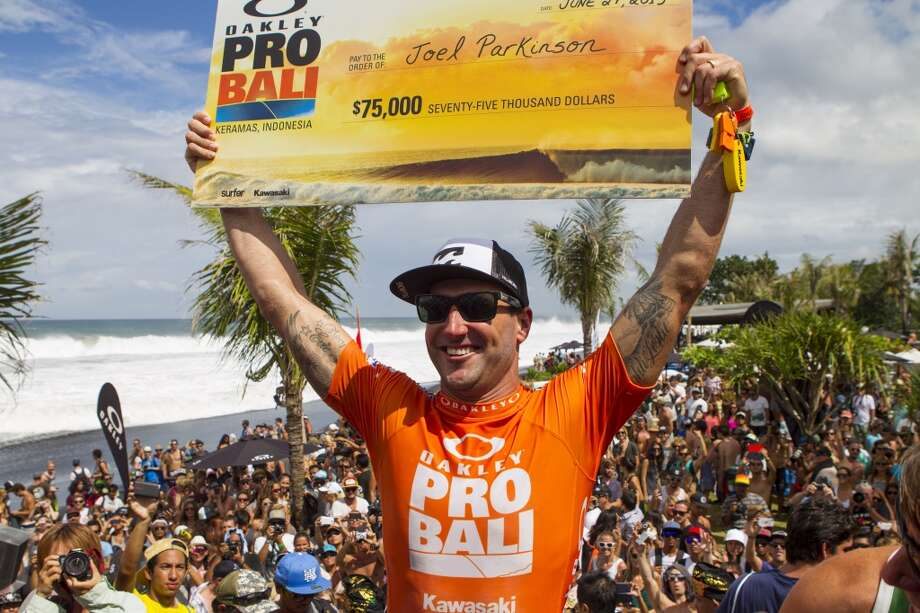 Joel Parkinson of Australia celebrates his victory at the Oakley Pro on June 27, 2013 in Denpasar, Bali, Indonesia.