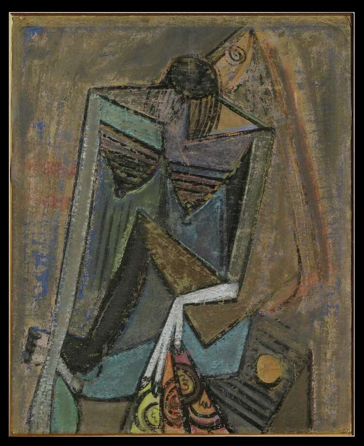 """On view in """"Intersecting Modalities: Latin American Art from The Brillembourg Capriles Collection"""" at the Museum of Fine Arts, Houston through Sept. 2: Wilfredo Lam's """"Woman with Fan, II"""" (1942, gouache on paper), The Brillembourg Capriles Collection of Latin American Art (c) 2013 Artists Rights Society (ARS), New York'ADAGP, Paris Photo: Artists Rights Society, New York, Photographer"""