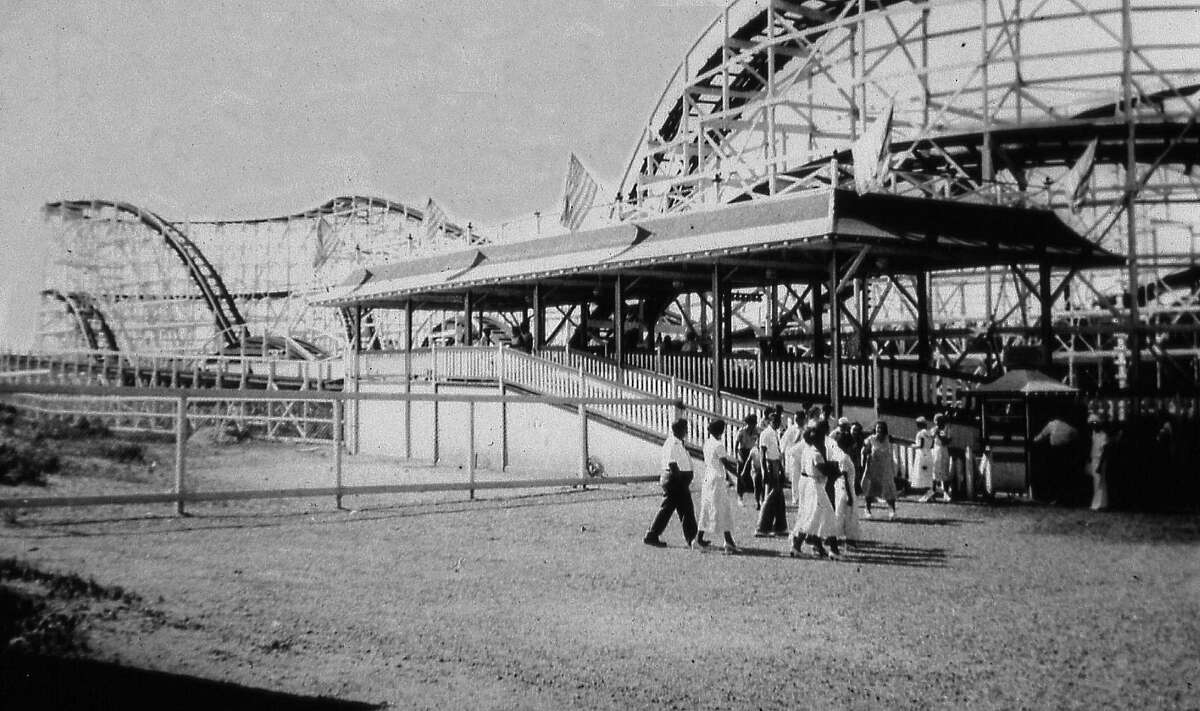 Guests wait to board the Big Dipper at Roton Point Amusement Park. Though the coaster and park no longer exist, one can still see the platform, which today serves as the Bayley Beach pavilion. An exhibition about the once-popular park is now on display at Rowayton's Pinkney Museum in Pinkney Park, Rowayton, Conn.