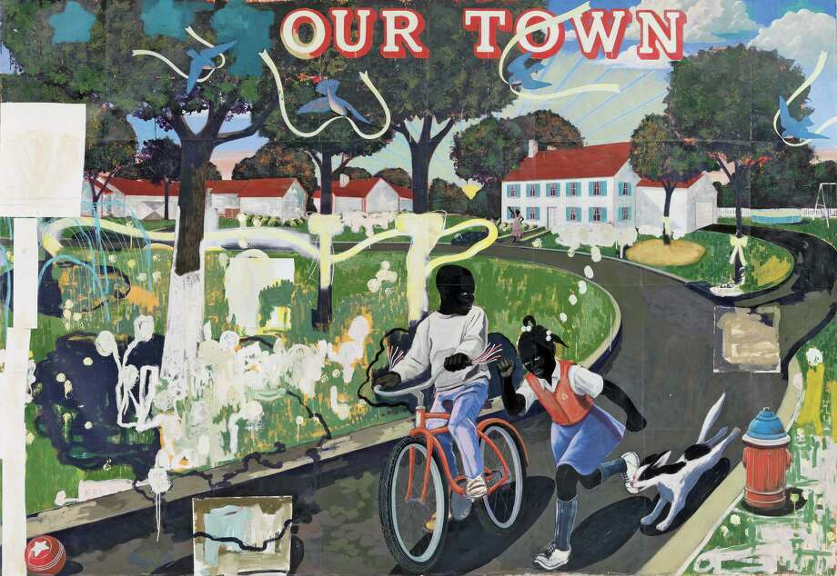 This undated handout image provided by the National Gallery of Art shows Kerry James Marshall 1995 acrylic and collage on canvas entitled: Our Town, which is part of an exhibit at the National Gallery of Art in Washington which is part of an exhibit at the National Portrait Gallery in Washington focusing on more than 150 years of African-American history from slavery to civil rights and contemporary suburban life.  (AP Photo/National Gallery of Art) Photo: HOPD / National Gallery of Art