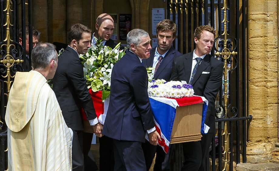 """At the funeral of Andrew """"Bart"""" Simpson in May, sailing colleagues Sir Ben Ainslie (third from left), Iain Percy (second from right) and Paul Goodison (right) serve as pallbearers. Photo: Chris Ison, PA Wire/Press Association Images"""