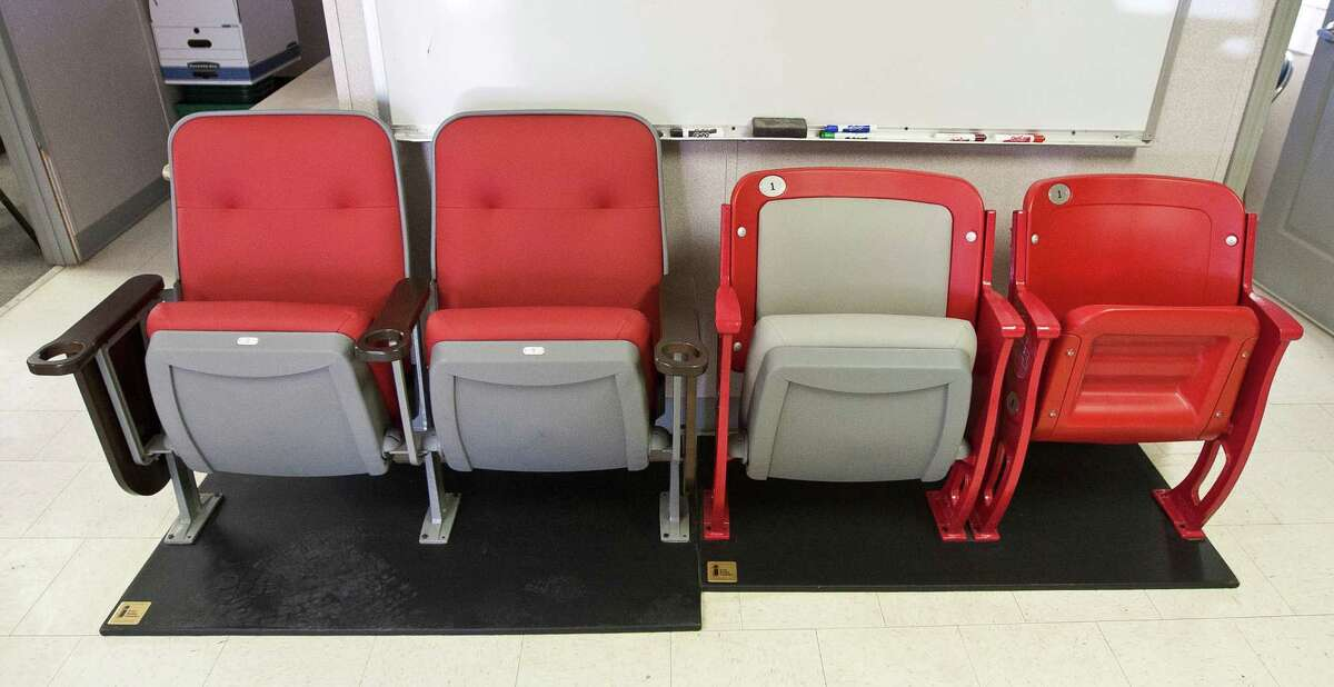 A sample of new seating that will be installed into the University of Houston's new on-campus stadium, Tuesday, June 25, 2013, in Houston.