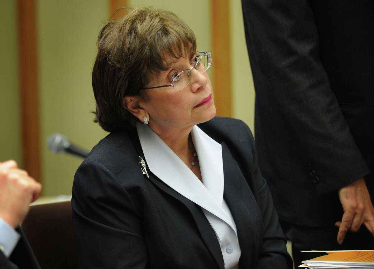 Former Superior Court judge Carmen Lopez listens to testimony during the Lopez v. Vallas civil hearing at Superior Court in Bridgeport, Conn. on Wednesday, April 24, 2013.