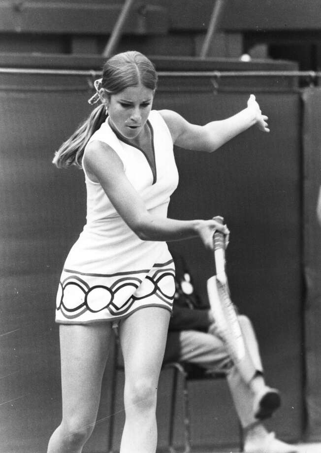 June 1972 — American tennis player Chris Evert in action at Wimbledon.