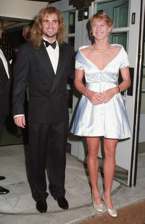 July 1982 — Andre Agassi and Steffi Graf dress up at the Savoy Hotel for the Wimbledon Winners Ball.