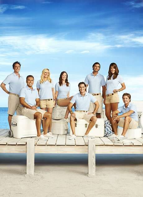"Ben Robinson (left), Alex Taldykin, Kathleen Held, Adrienne Gang, David Bradberry, C.J. Lebeau, Samantha Orme and Eddie Lucas are crew members in the reality series ""Below Deck."" Photo: Justin Stephens, Bravo"