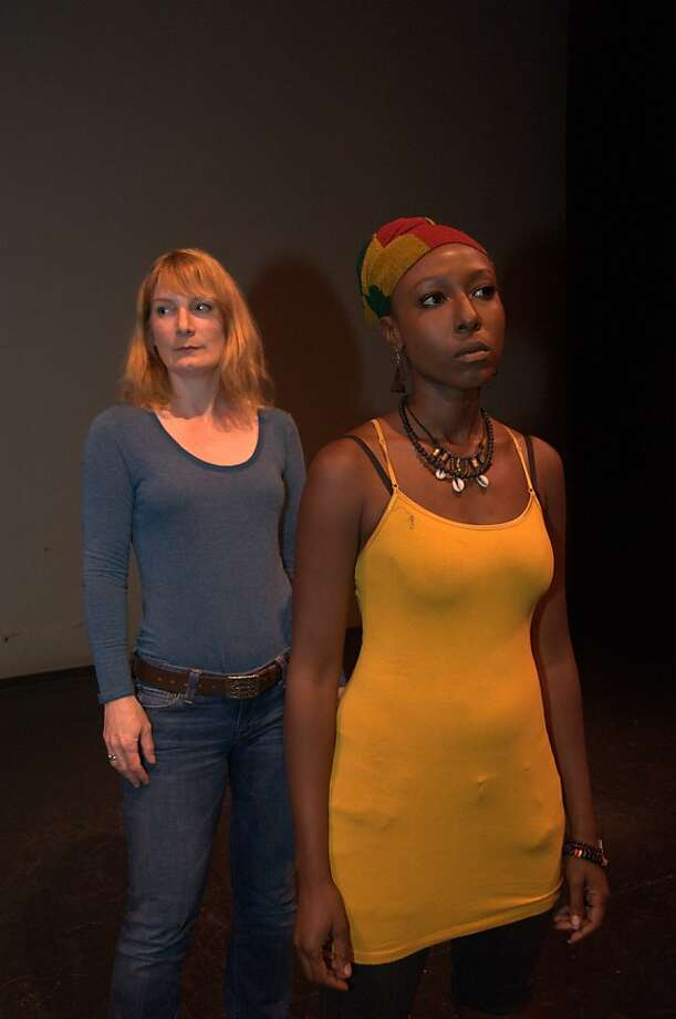 "Lisa Anne Porter (left) as Katherine Tinney and Britney Frazier as Rehema Abu-Salaam in ""In a Daughter's Eyes,"" a new play by A. Zell Williams. Photo: Anastacia Powers Cuellar, Brava Theatre For The Arts"