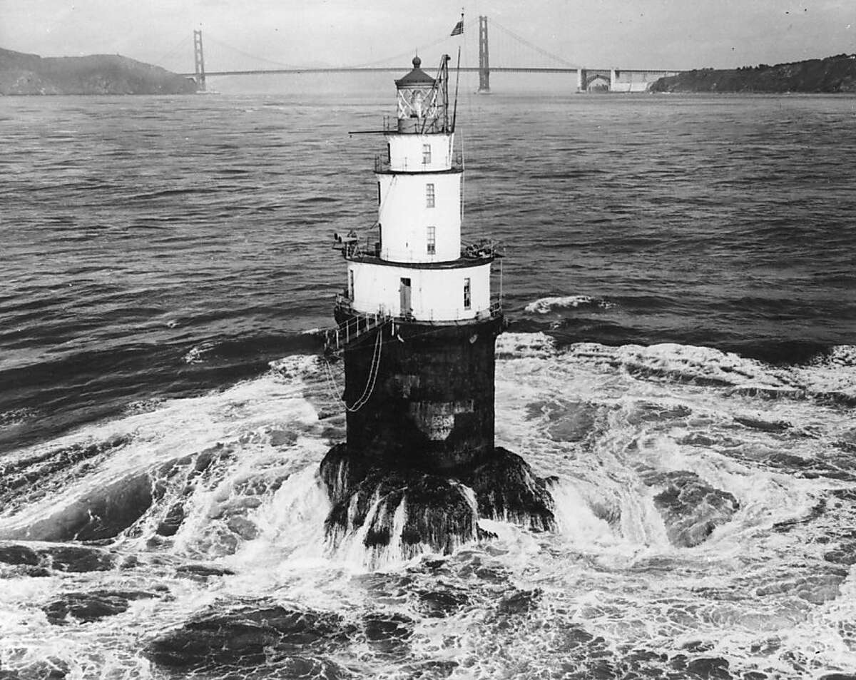circa 1950: The Mile Rocks Lighthouse, completed in 1906 and located half a mile off Lands End in the Golden Gate area of San Francisco. (Photo by Keystone/Getty Images)