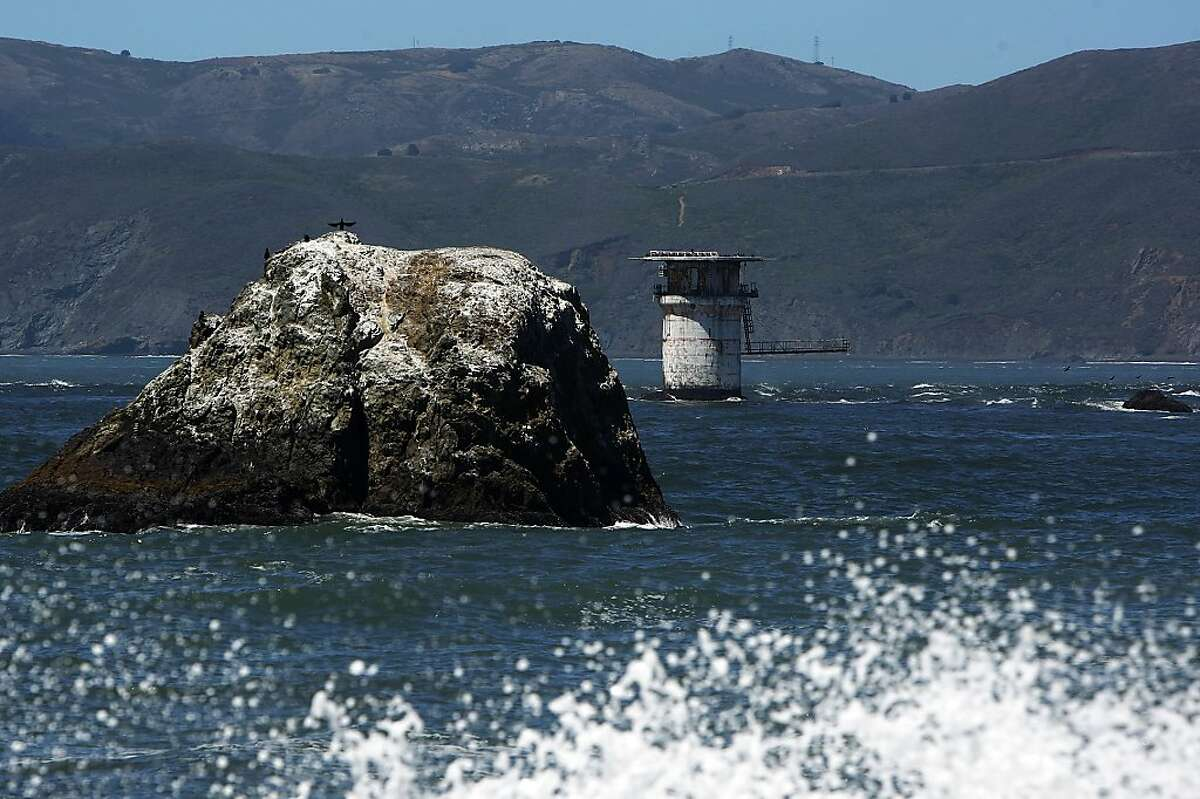 The old Mile Rocks Lighthouse off the Land's End on Thursday, June 27, 2013 in San Francisco, Calif. The lighthouse is no longer present but its base remains and a helicopter pad resides on top of it.