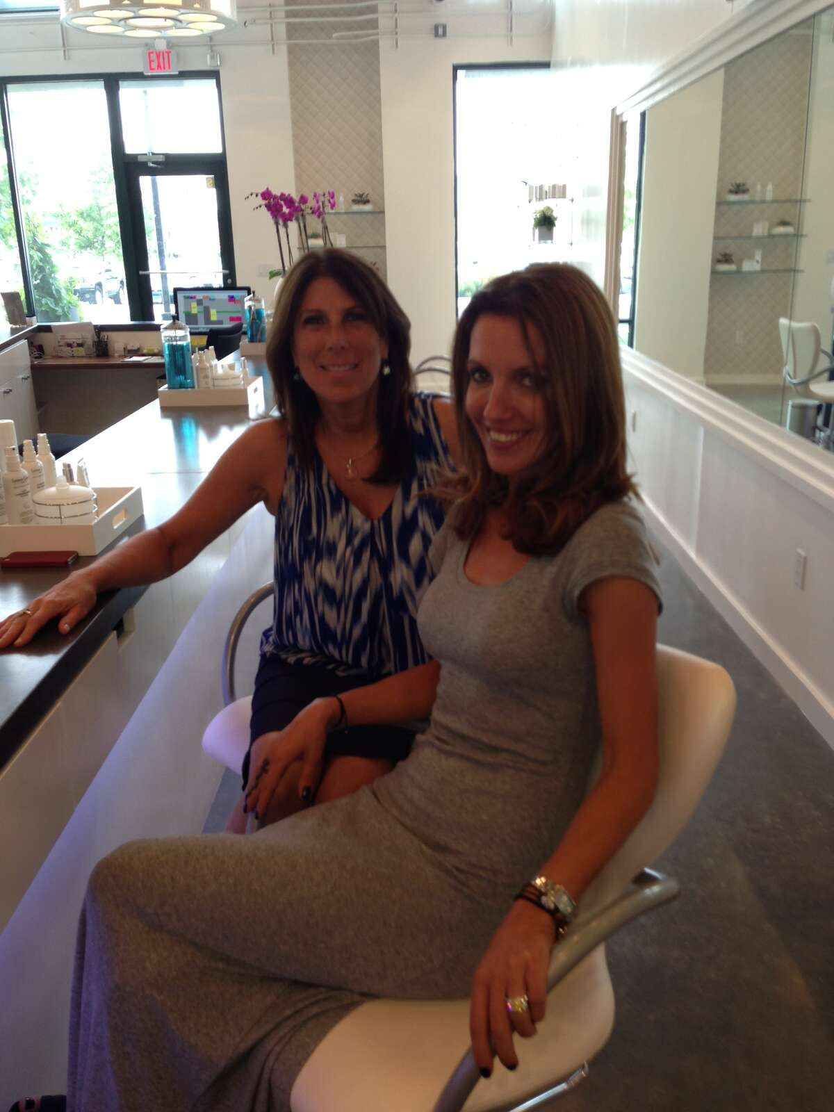 Quinn Caravella and Liria Heidenreich at their new salon The Style Bar in Stamford's Lockworks Building in Harbor Point.