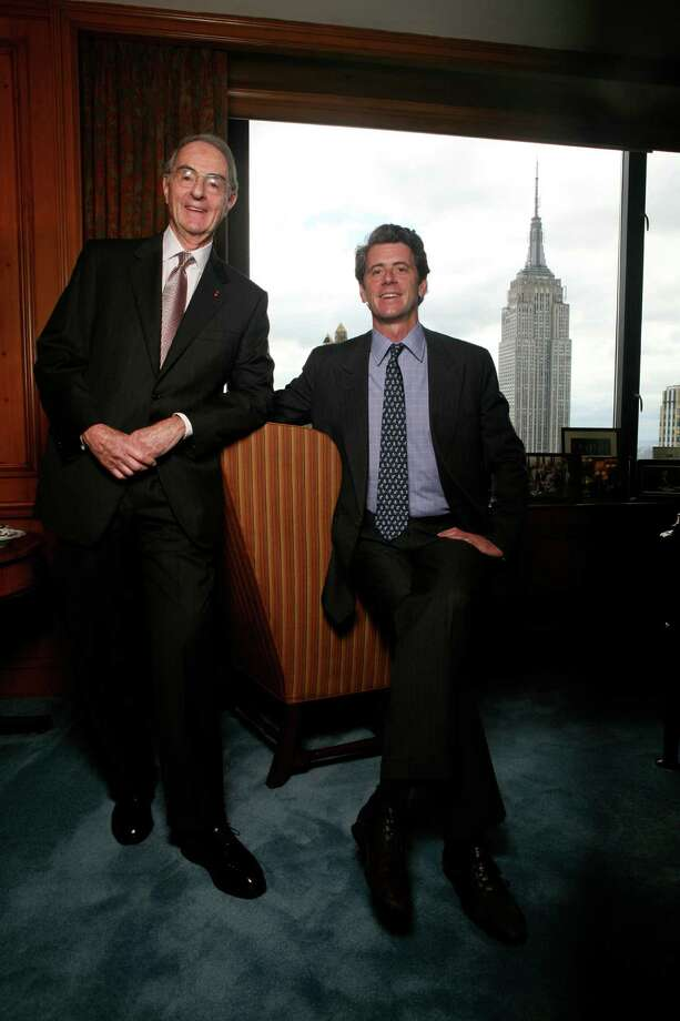 Greenwich commercial property moguls Peter Malkin, left, and his son, Anthony Malkin, who control the Empire State Building, have received three unsolicited bids worth at least $2 billion each to buy the New York City landmark. Photo: CHESTER HIGGINS JR, New York Times / Getty Images