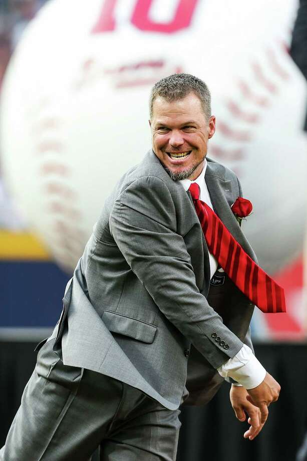 ATLANTA, GA - JUNE 28: Chipper Jones #10 of the Atlanta Braves throws out the ceremonial first pitch during his number retirement ceremony before the game against the Arizona Diamondbacks at Turner Field on June 28, 2013 in Atlanta, Georgia. Photo: Daniel Shirey, Getty Images / 2013 Getty Images