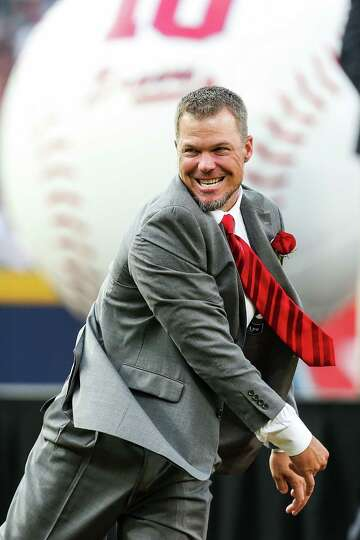 ATLANTA, GA - JUNE 28: Chipper Jones #10 of the Atlanta Braves throws out the ceremonial first pitch
