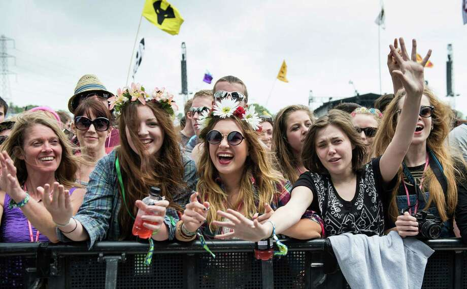 The crowd enjoys the atmosphere as Jake Bugg performs live on the Pyramid Stage at day 2 of the 2013 Glastonbury Festival at Worthy Farm on June 28, 2013 in Glastonbury, England. Photo: Ian Gavan, Getty Images / 2013 Getty Images