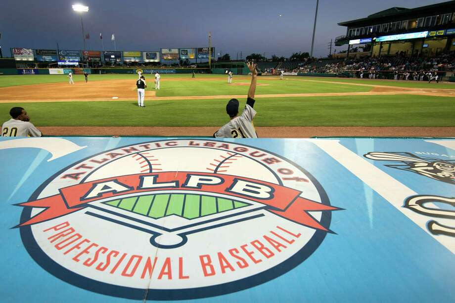 The Atlantic League of Professional Baseball logo is on display atop the visitors dugout as the Sugar Land Skeeters play the York Revolution at Constellation Field on Friday, June 28, 2013, in Sugar Land. Photo: Smiley N. Pool, Houston Chronicle / © 2013  Smiley N. Pool