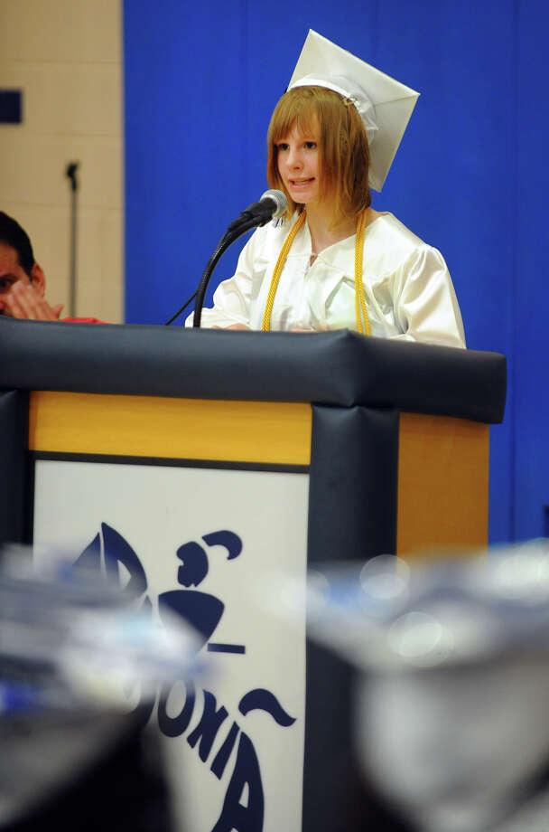 Ansonia High School Valedictorian Paige Anne Orlofsky speaks during the school's Commencement Exercises in Ansonia, Conn. on Friday June 28, 2013. Photo: Christian Abraham / Connecticut Post