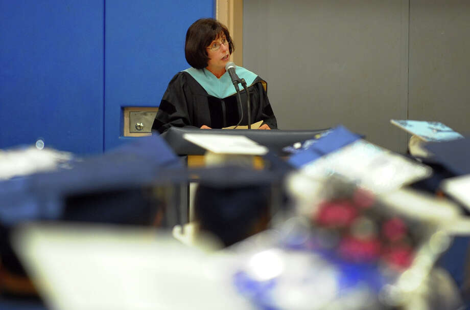 Superintendent of Schools Dr. Carol Merlone speaks during Ansonia High School's Commencement Exercises in Ansonia, Conn. on Friday June 28, 2013. Photo: Christian Abraham / Connecticut Post