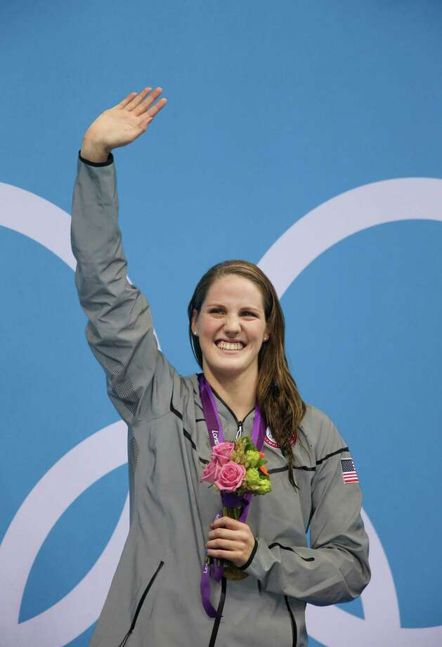 Missy Franklin, of the U.S., after finishing first and setting a new world record in the women's 200 backstroke at the 2012 Summer Olympic Games in London, Aug. 3, 2012. (Doug Mills/The New York Times) Photo: DOUG MILLS / NYTNS