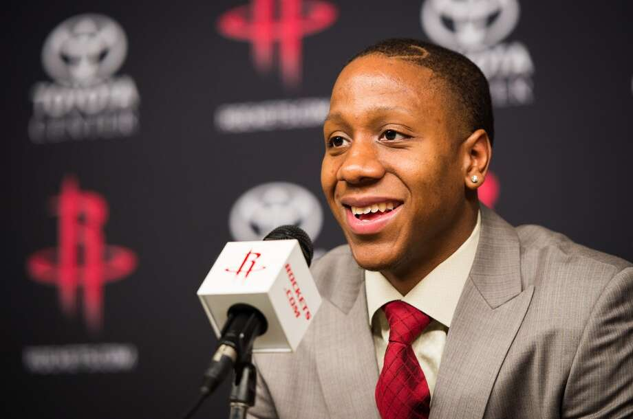 Isaiah Canaan, the 34th pick of the NBA draft by the Rockets, addresses the media.