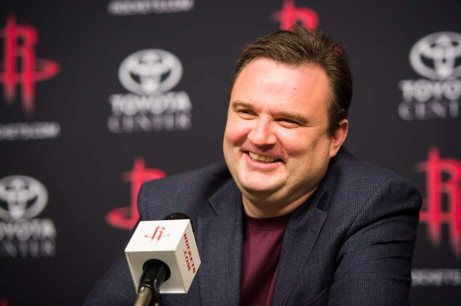 Rockets general manager Daryl Morey addresses the media during  a press conference.