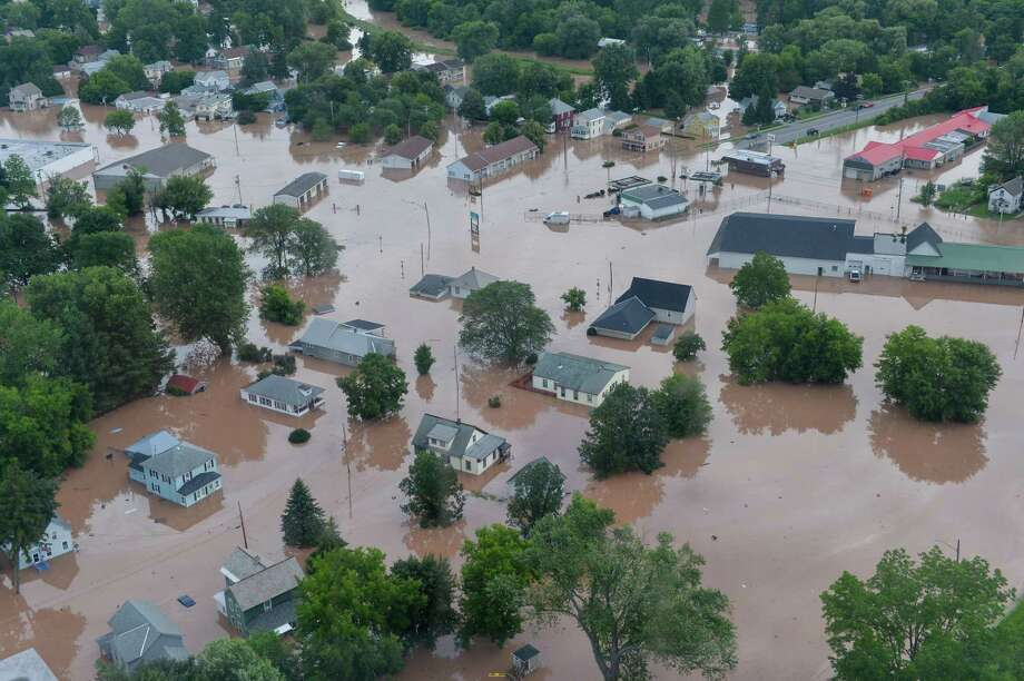 An aerial view shows the extent of the flooding in the city of Oneida, taken during Gov. Andrew Cuomo's tour of communities affected in the Mohawk Valley. (Executive Chamber) Photo: Darren McGee