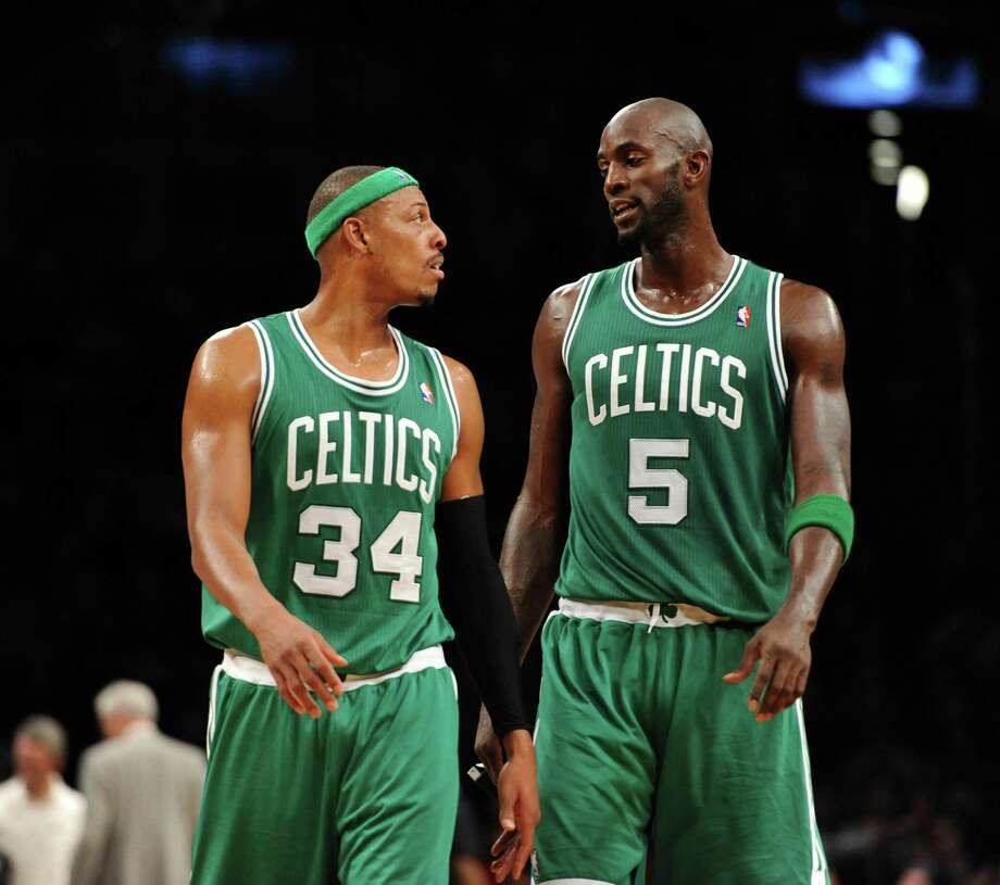 Near-certain Hall of Famers Paul Pierce (left) and Kevin Garnett will try to win an NBA title for Brooklyn like they did for Boston in 2008. Photo: Barton Silverman / New York Times