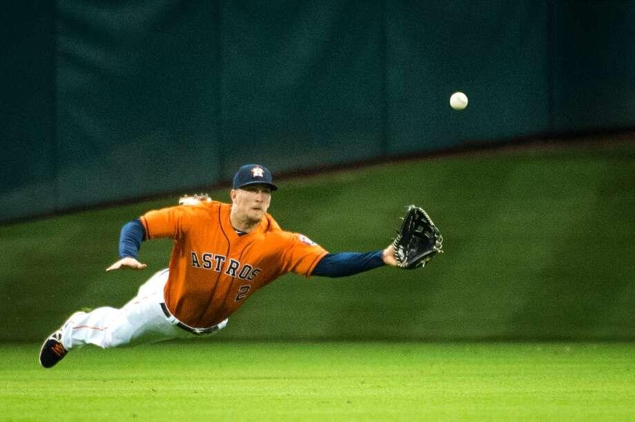 June 28: Angels 4, Astros 2Astros center fielder Brandon Barnes makes a diving catch on a liner by Angels left fielder J.B. Shuck.