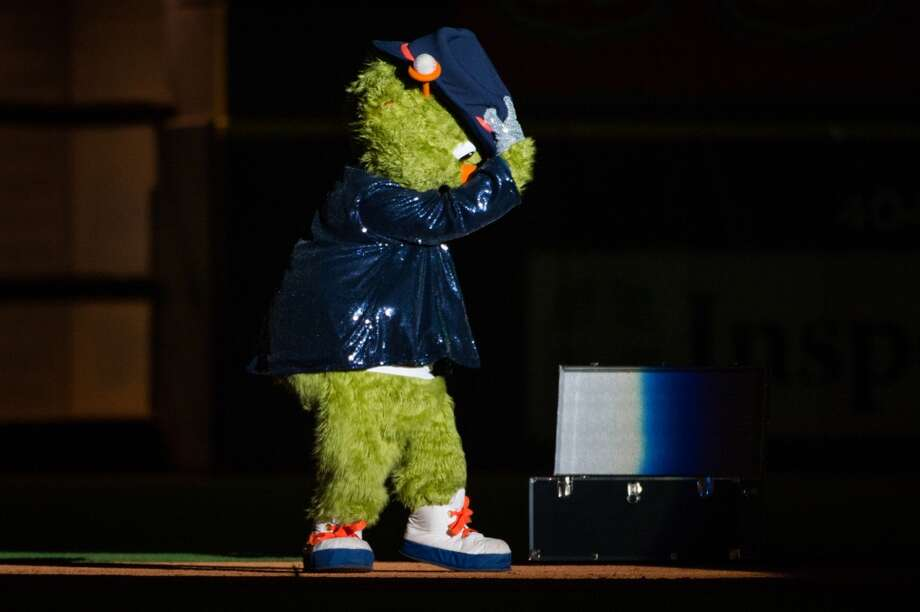 Astros mascot Orbit does a Michael Jackson impersonation after the game.