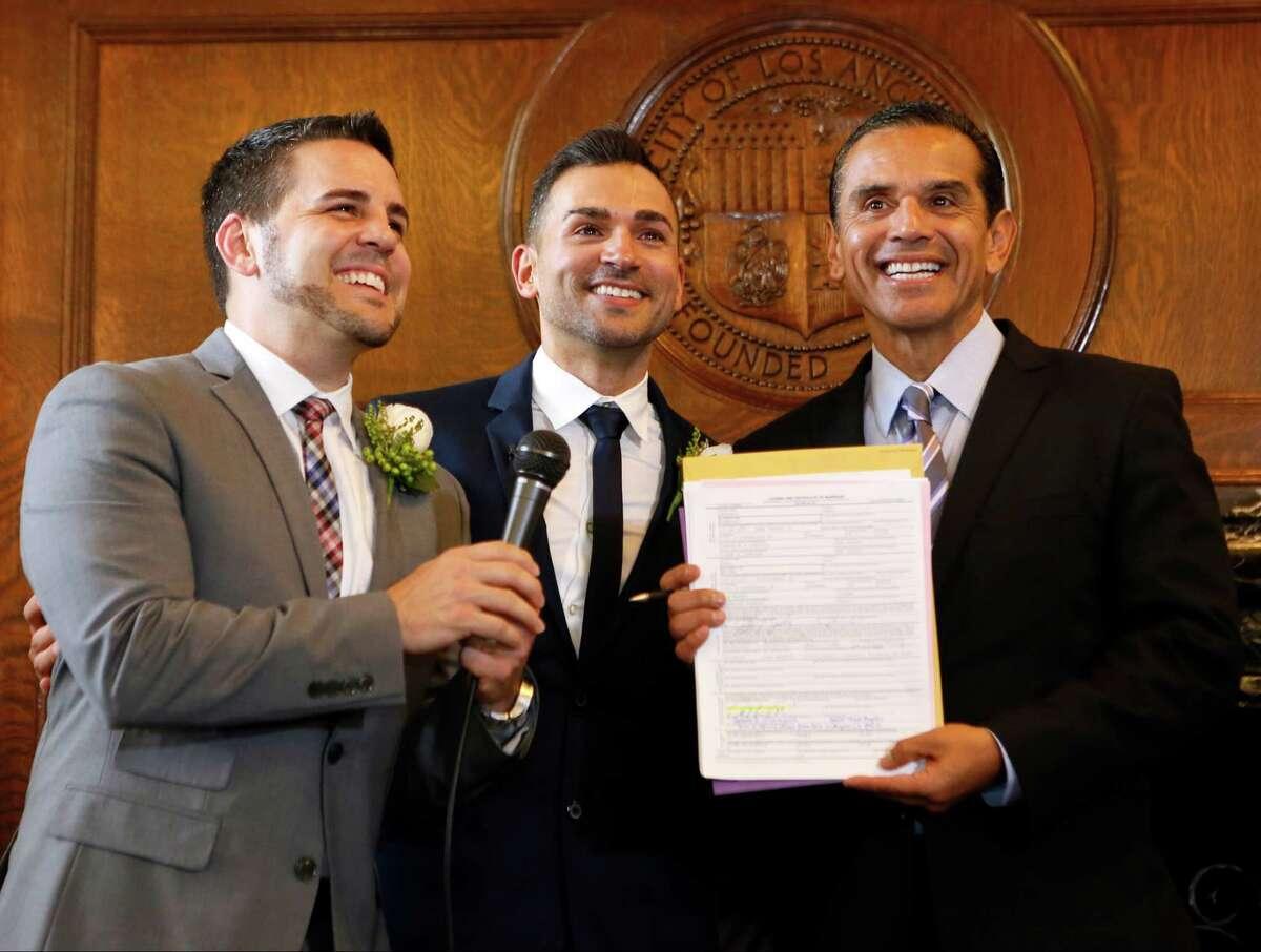 Antonio Villaraigosa presides over a same-sex wedding as mayor of Los Angeles in 2013. Villaraigosa is among several California Democrats seriously considering a U.S. Senate run.