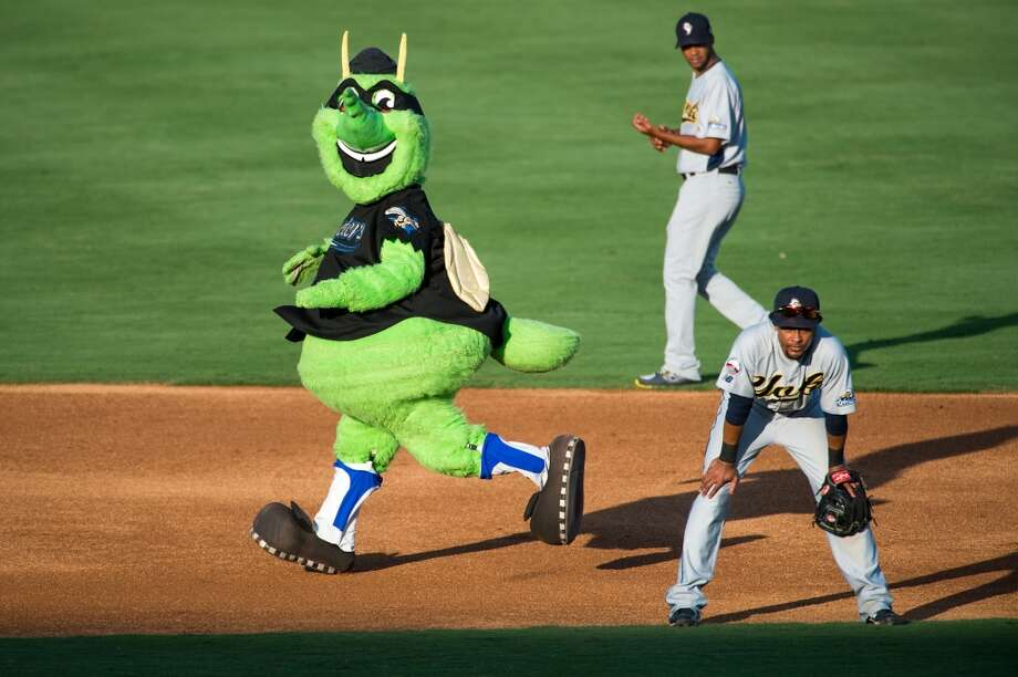 "Sugar Land Skeeters mascot ""Moe"" rounds the bases between innings as the Skeeters play the York Revolution at Constellation Field on Friday, June 28, 2013, in Sugar Land. Photo: Smiley N. Pool, Houston Chronicle"