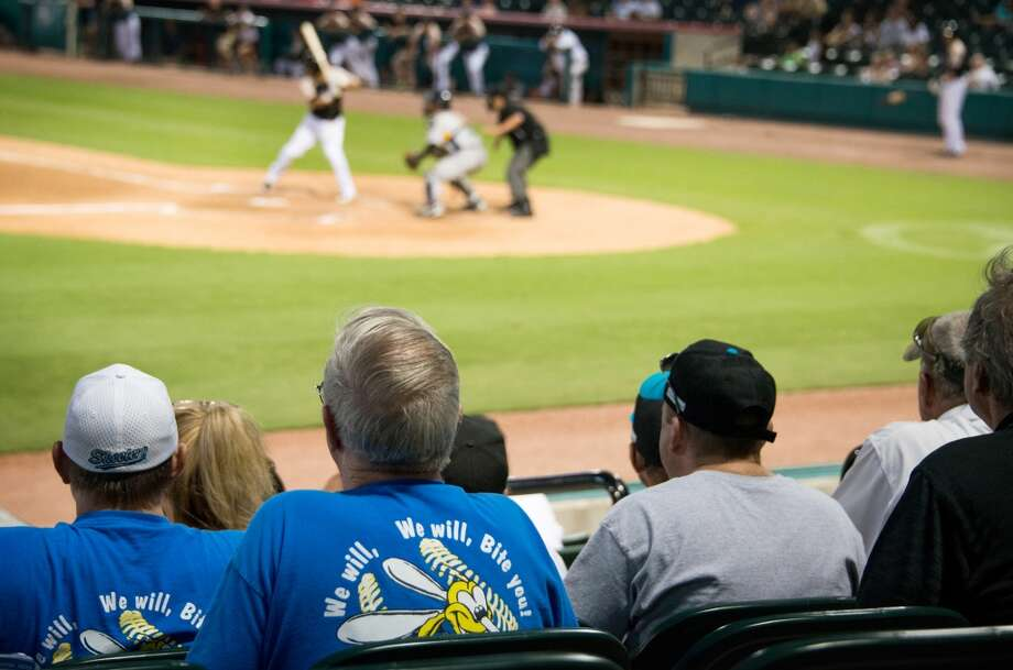 "Skeeters fans wear t-shirts bearing the team chant ""We will, We will, Bit You!"" as they watch their team play the York Revolution. Photo: Smiley N. Pool, Houston Chronicle"
