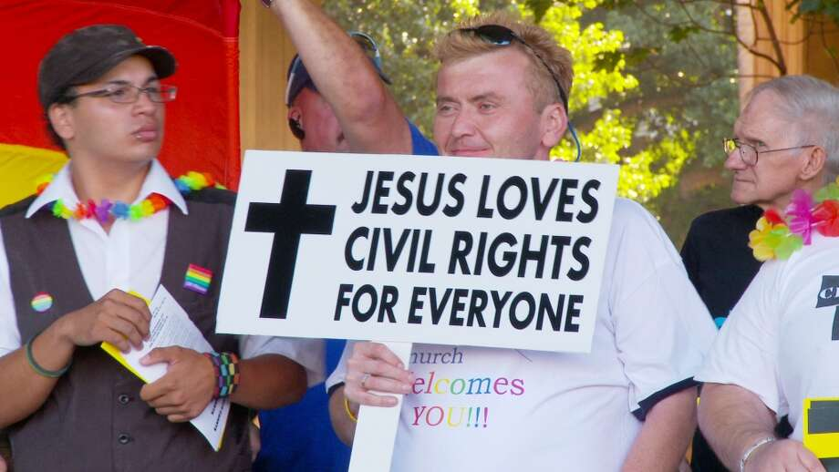 """An LGBT rally at Hawaiʻi State Capitol in Honolulu shows the diversity of religious opinions expressed in 'Chasing Rainbows."""""""