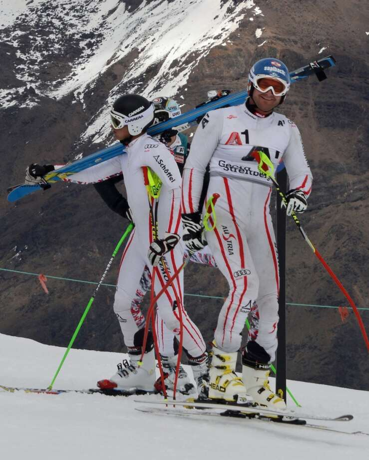 "Members of the Austrian National Ski Team doing some ""off season"" training at Portillo."