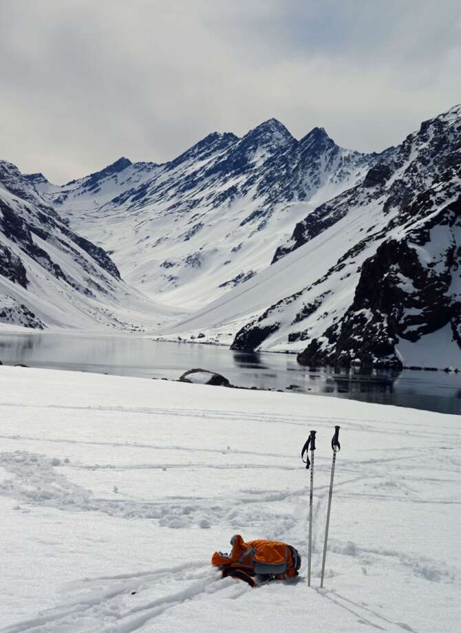 Guests at Portillo can snowshoe around the lake.