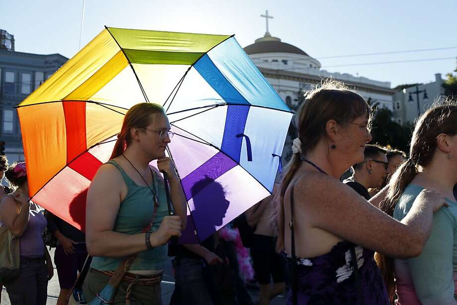 People march down Market Street during the Trans March in San Francisco, Calif. on June 28, 2013. Photo: Ian C. Bates, The Chronicle