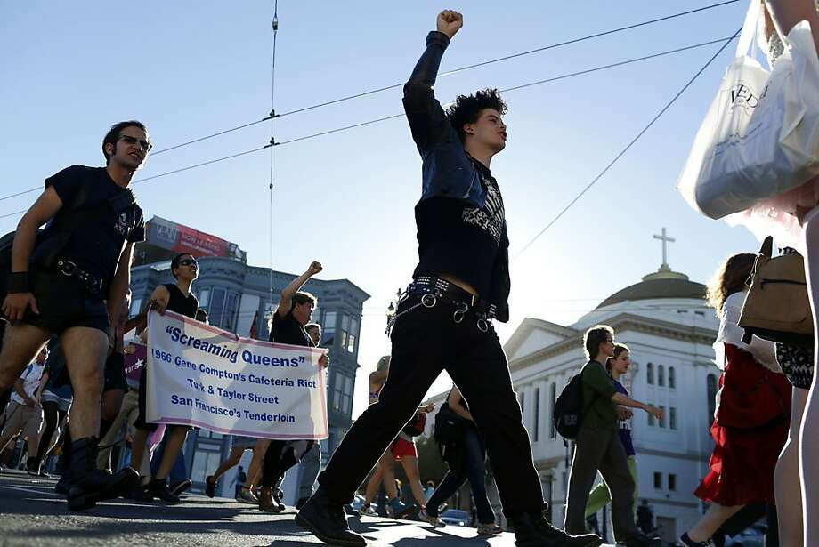 Justin Nelson pumps his fist in the air during the Trans March in San Francisco, Calif. on June 28, 2013. Photo: Ian C. Bates, The Chronicle