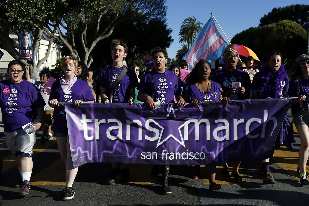 Transgender marchers and their supporters head up Dolores Street for last year's Trans March.