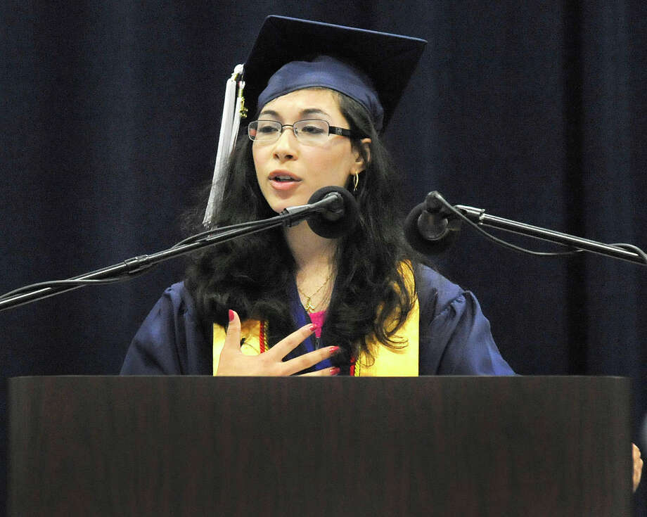 Valedictorian Malana Krongelb speaks as New Fairfield High School holds commencement exercises at the O'Neill Center, on the campus of Western Connecticut State University in Danbury, Conn. Saturday, June 29, 2013. Photo: Michael Duffy / The News-Times