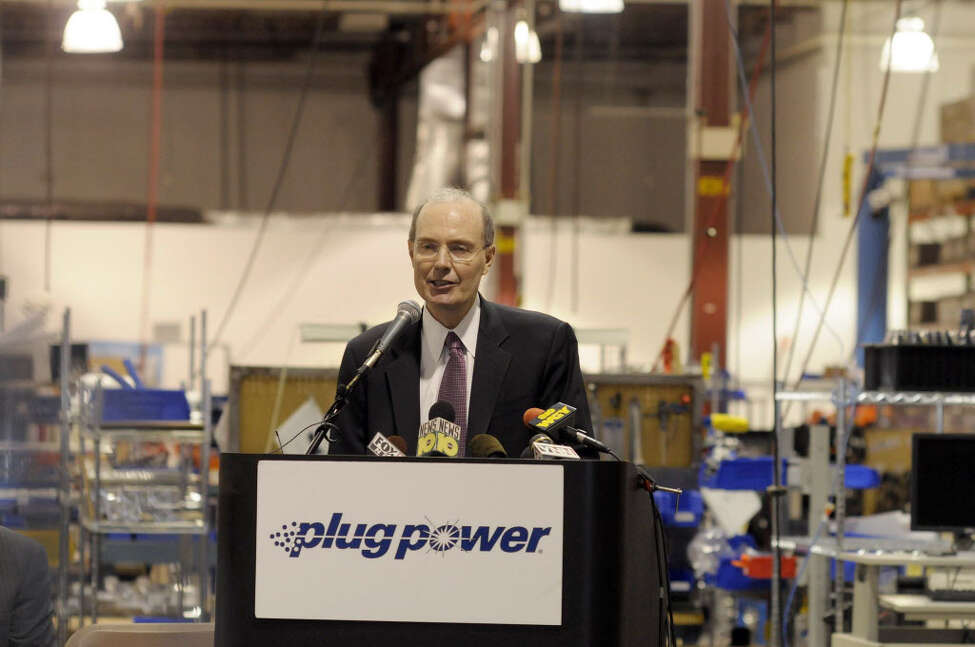 Andy Marsh, CEO of Plug Power, addresses those gathered for a press event on the manufacturing floor of Plug Power on Monday morning, April 25, 2011 in Latham. The press conference was held by Congressmen Paul Tonko and Chris Gibson, who announced the introduction of their bipartisan legislation to improve the tax credit for industrial vehicles powered by fuel cells, like the ones Plug Power manufactures. (Paul Buckowski / Times Union)