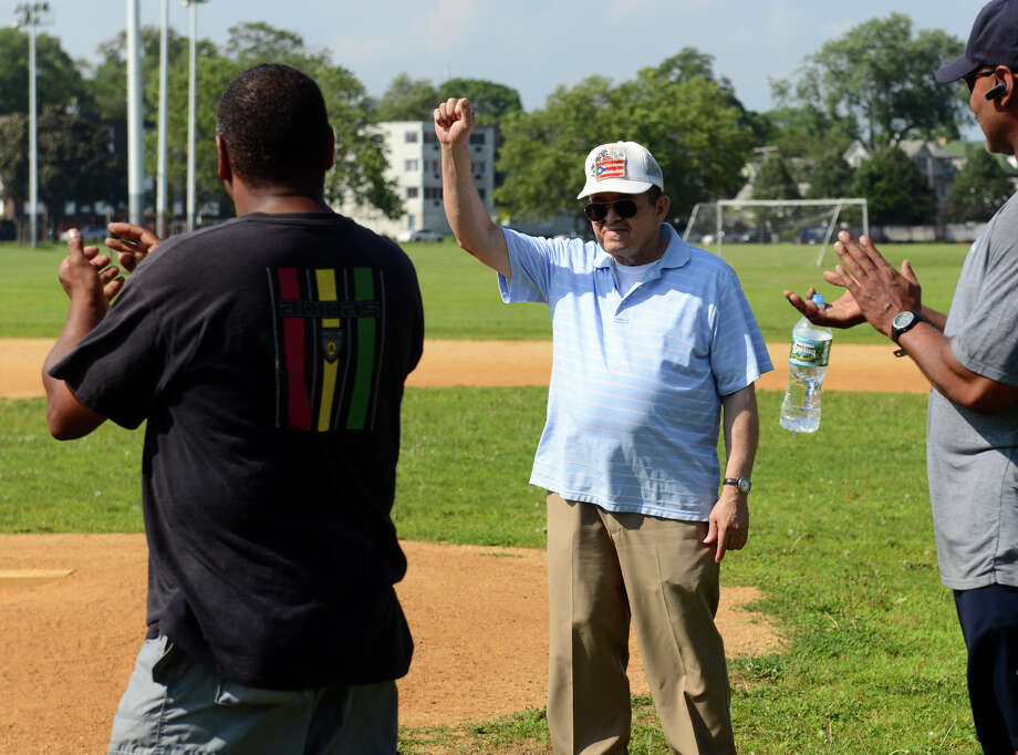 Founding member of the Christian Baseball League, Gregorio Pacheco, waves during the Bridgeport Caribe Youth Leaders' Caribe Day event at Seaside Park in Bridgeport, Conn. on Saturday June 29, 2013. The CBL is the fore runner of today's league. Photo: Christian Abraham / Connecticut Post